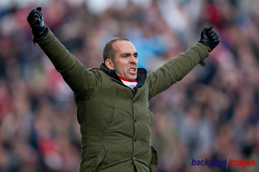 Swindon Town manager Paolo Di Canio celebrates his sides equalising goal, 1-1