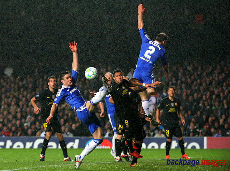 Gary Cahill of Chelsea stretches as he goes close to scoring to make it 2-0