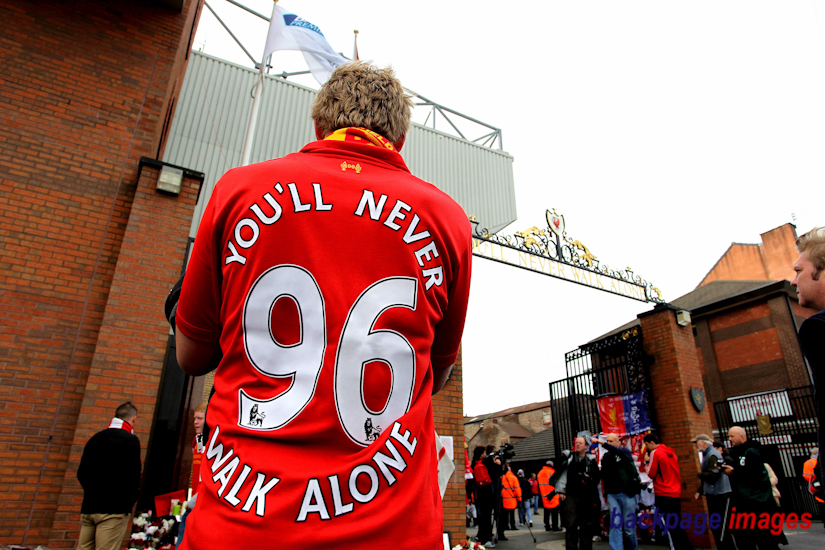 A Liverpool fan takes a moment to reflect at the Hillsborough Disaster Memorial at Anfield before kick off. Last week the Hillsborough Independent Panel revealed the truth behind what happened at the Hillsborough Disaster.
