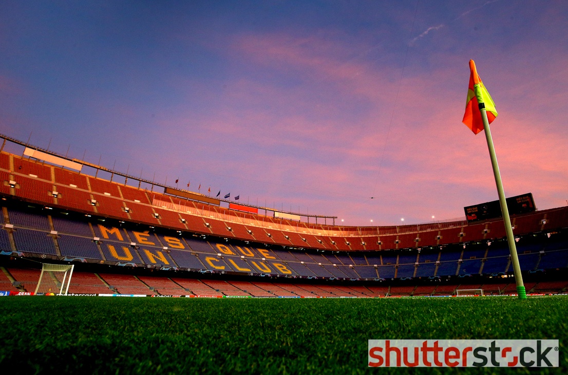 A general view of the Camp Nou as the sun sets