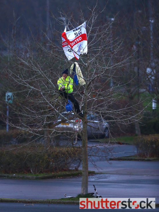 An Oxford United fan climbs a tree to watch from the car park